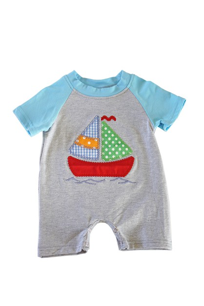 Sail boat applique boy baby romper - orangeshine.com