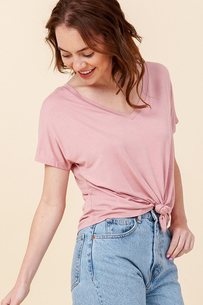 V-NECK SHORT SLEEVE CROP TOP  - orangeshine.com
