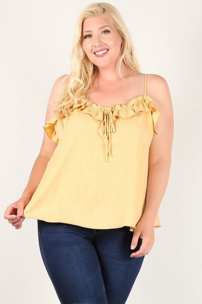 Solid Ruffled Trim Top - orangeshine.com