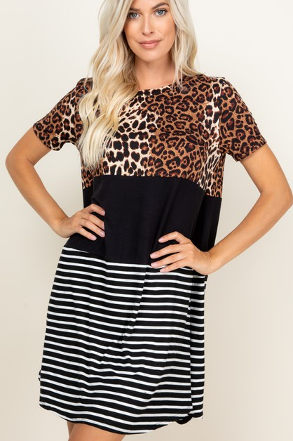 STRIPED WITH LEOPARD PRINTED DRESS - orangeshine.com