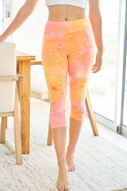 Tie Dye Capri Knit Leggings - orangeshine.com