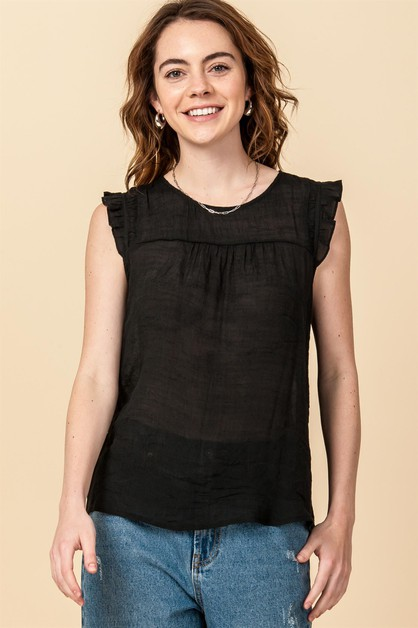 SLEEVELESS TOP WITH FRONT PLEATED - orangeshine.com