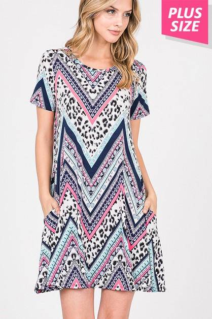 IN STOCK MULTI PRINT DRESS WITH SIDE - orangeshine.com