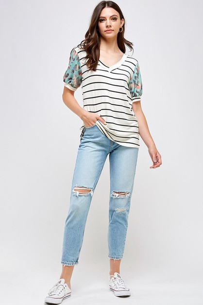 STRIPE AND LEOPARD PUFF SLEEVE TOP - orangeshine.com