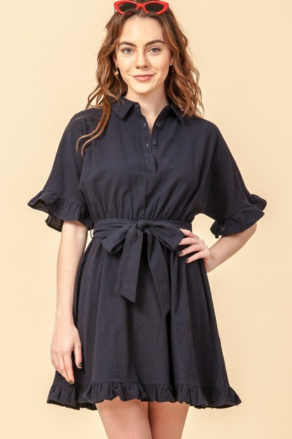 SHIRT DRESS WITH RUFFLE TRIM AND ROP - orangeshine.com