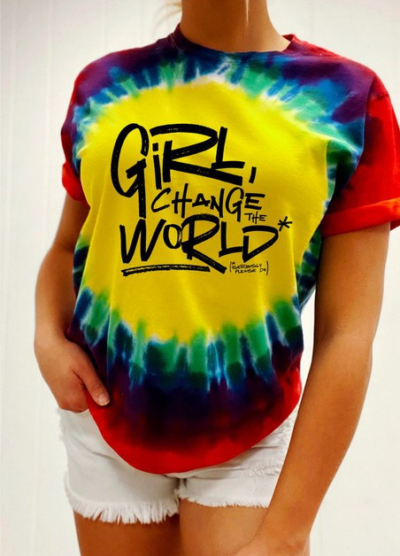 Girl Change The World Tie Dye Tee - orangeshine.com