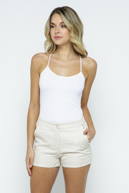 Textured High Waist Shorts - orangeshine.com