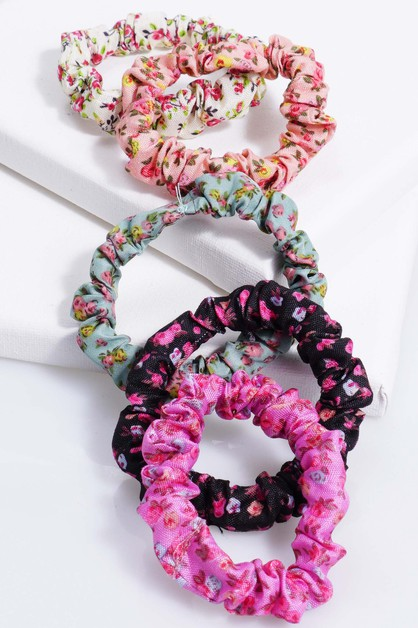 Printed Flower Scrunchie - orangeshine.com
