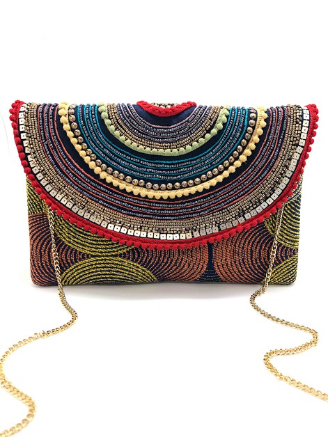 Rainbow Circle Beaded Clutch Bag  - orangeshine.com