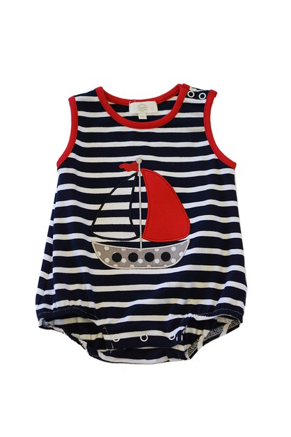 Navy stripe sail boat applique baby  - orangeshine.com