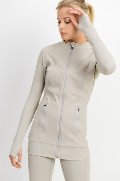 Longline Ribbed Active Jacket - orangeshine.com