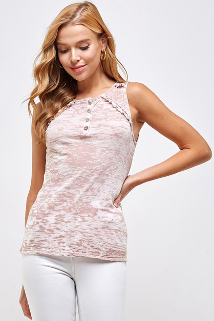 BUTTON DOWN RUFFLE TANK - orangeshine.com