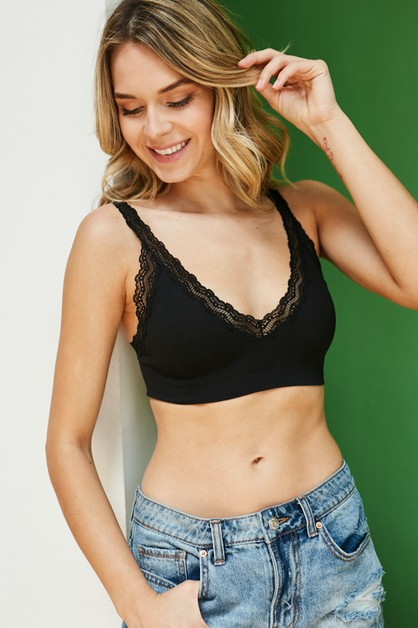 Lace Trim Padded Bralette  - orangeshine.com