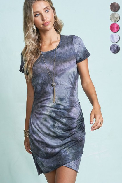 Tie dye Ruched T-Shirts Dress - orangeshine.com