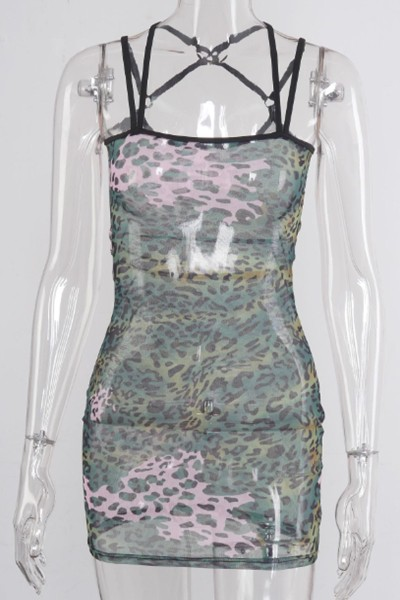 leopard transparent mesh dress - orangeshine.com