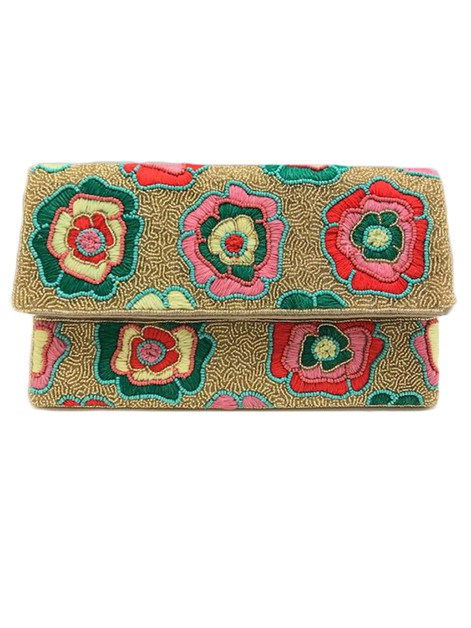 Golden Floral Pattern Bead Clutch Ba - orangeshine.com
