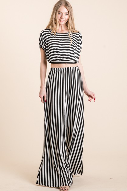 Casual Stipes Top and Pants Set - orangeshine.com