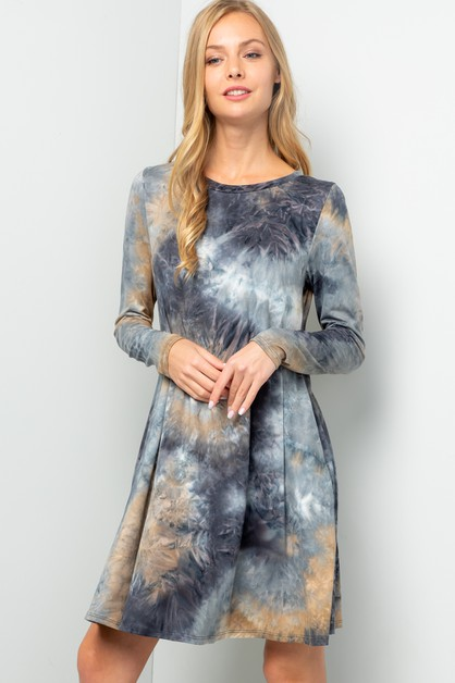 LONG SLEEVE TIE DYE PRINT DRESS - orangeshine.com