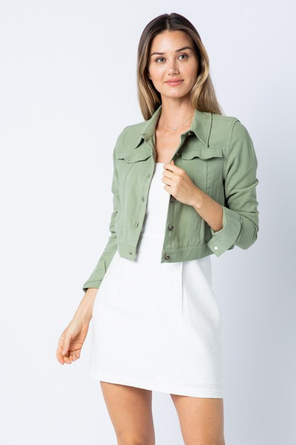 Linen crop jacket - orangeshine.com