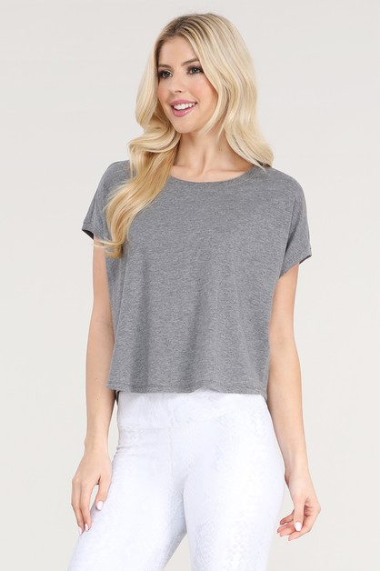 Essential Ribbed Hem Boxy Crop Top with - orangeshine.com