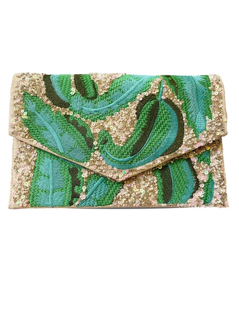 Verdure Green Sequin Embroidered Bag - orangeshine.com