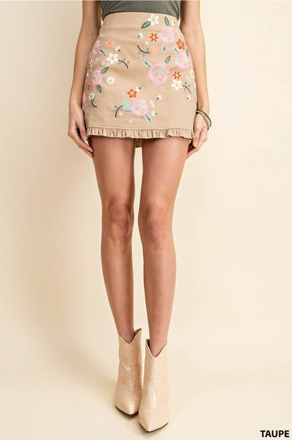 EMBROIDERED MINI SKIRT - orangeshine.com