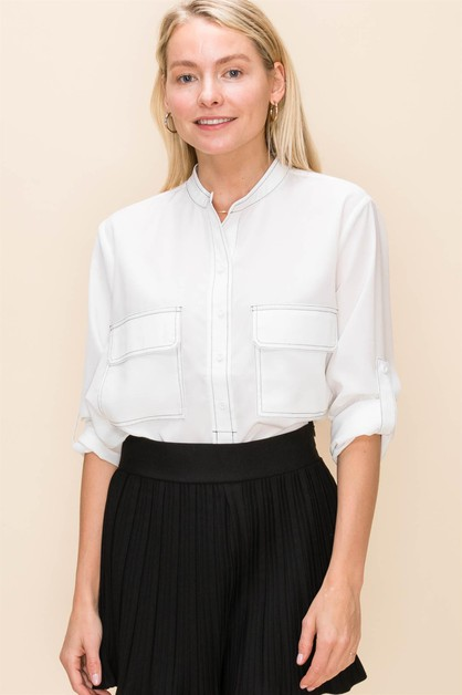 CHINESE COLLAR POCKET SHIRT - orangeshine.com