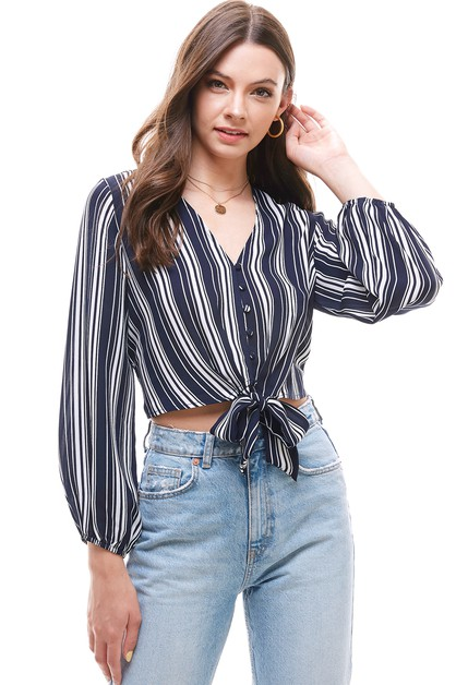 Stripe Front Tie Knot Crop Top - orangeshine.com