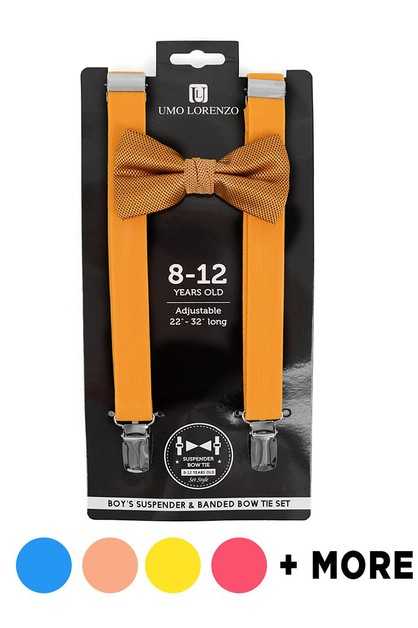 Boys Solid Suspenders Set 4-7 Years - orangeshine.com