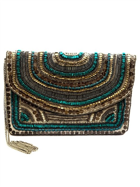Goddess Gold Beaded Clutch - orangeshine.com