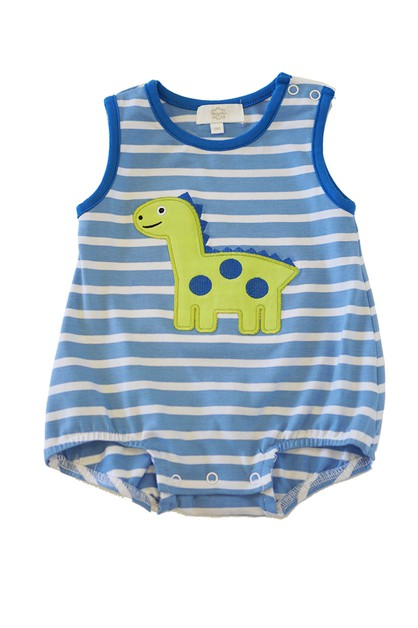 Blue strip dinosaur applique baby - orangeshine.com