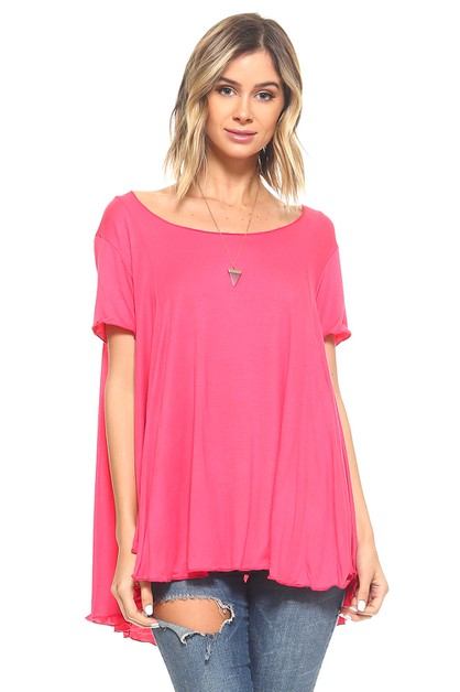 Short Sleeve Flowy Tunic - Plus - orangeshine.com