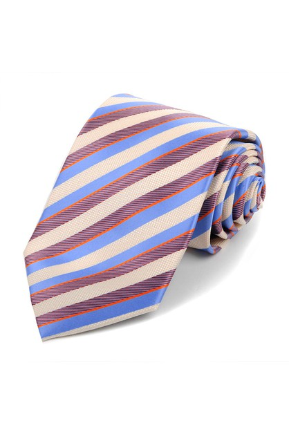 Microfiber Poly Woven Striped Tie - orangeshine.com
