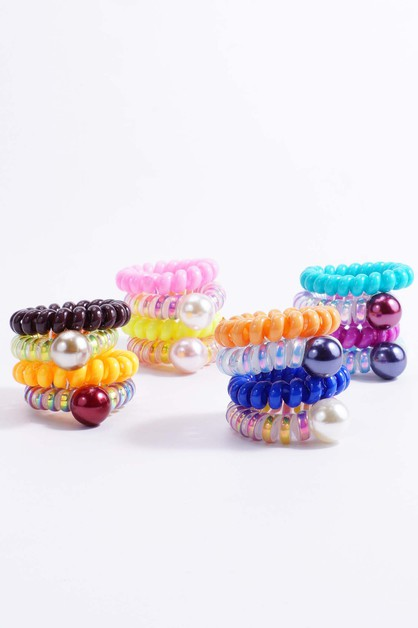 Mini Pearl Spiral Hair Ties - orangeshine.com