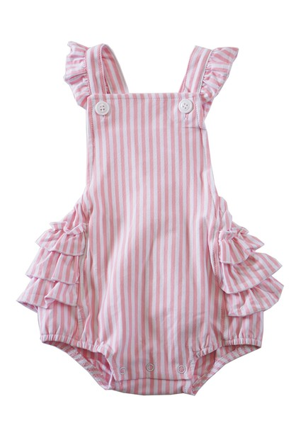 Pink stripe knit cotton baby ruffle  - orangeshine.com