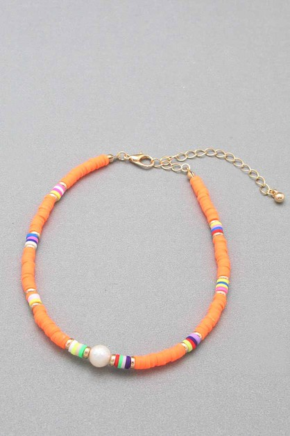 COLOR RUBBER BEAD ANKLET  - orangeshine.com