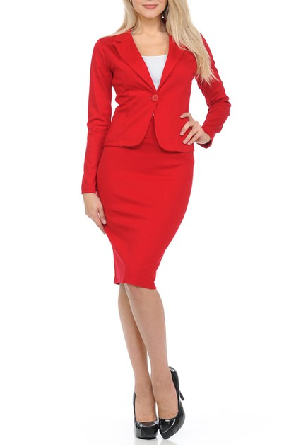 Basic Wear to Work Solid Skirt Suit  - orangeshine.com