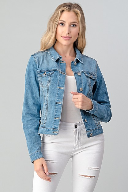 Women Solid Cropped Denim Jacket - orangeshine.com