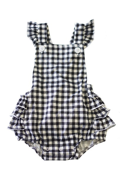 Black white check ruffle baby bubble - orangeshine.com