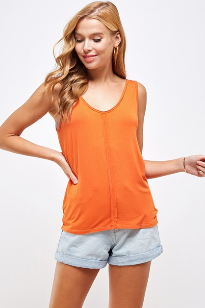 Raw edge sewing contrast tank top - orangeshine.com