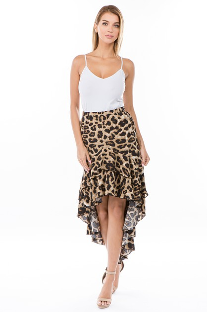 leopard ruffle fashion skirt - orangeshine.com