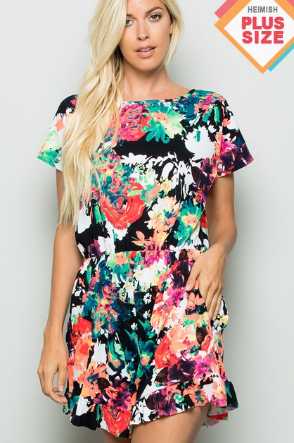 PLUS SIZE FLORAL ROMPER WITH SIDE PO - orangeshine.com