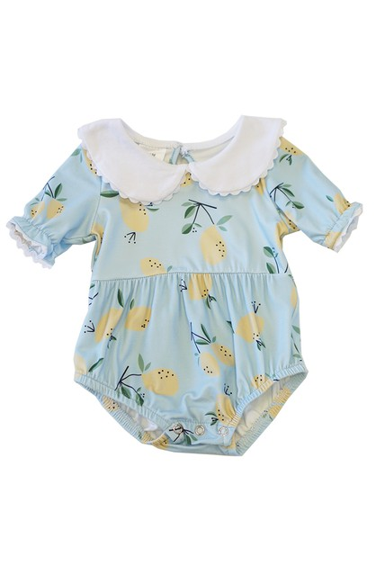 Mint lemon collared baby bubble romp - orangeshine.com