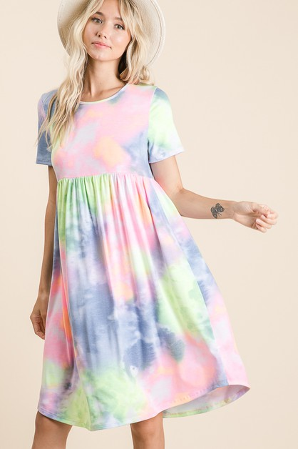 TIE-DYE MIDI DRESS - orangeshine.com