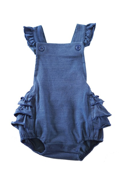 Denim knit cotton ruffle baby romper - orangeshine.com