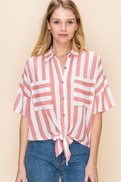 TIE FRONT STRIPE BLOUSE WITH POCKETS - orangeshine.com