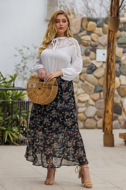 Women high-waist floral print skirt - orangeshine.com