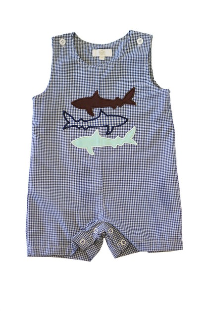 Navy gingham shark applique jonjon - orangeshine.com