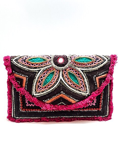 Floral Beaded Envelope Clutch - orangeshine.com