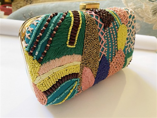 Green Springs Beaded Clutch Bag - orangeshine.com
